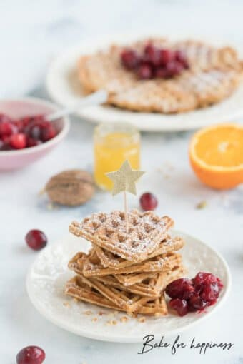 Christmas waffles with nuts and cinnamon