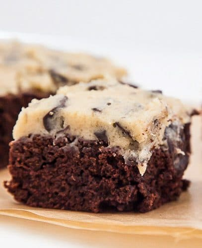 Cookie Dough Brownies with cookie dough topping