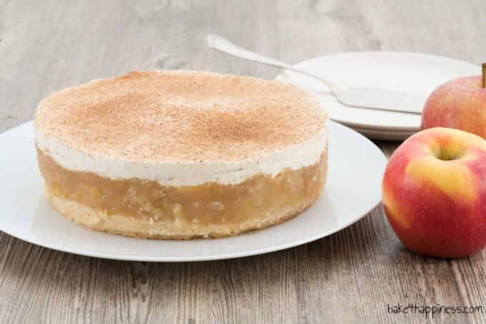 Apple cake with pudding and apple juice