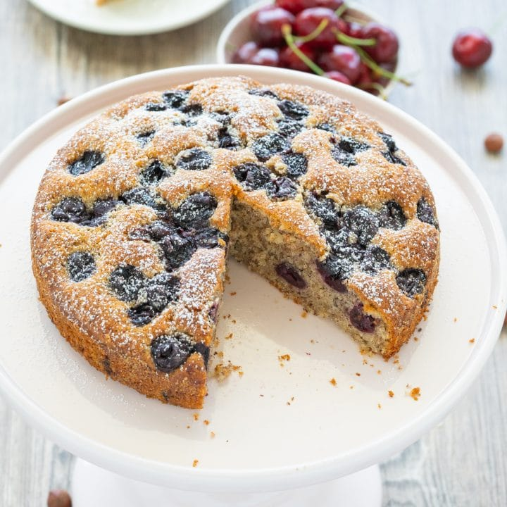 Baking cherry-nut cake