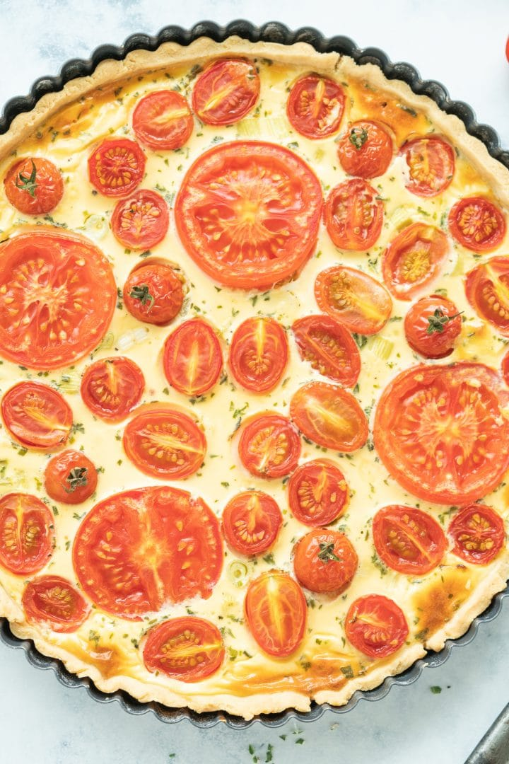 Goat cheese quiche with cherry tomatoes