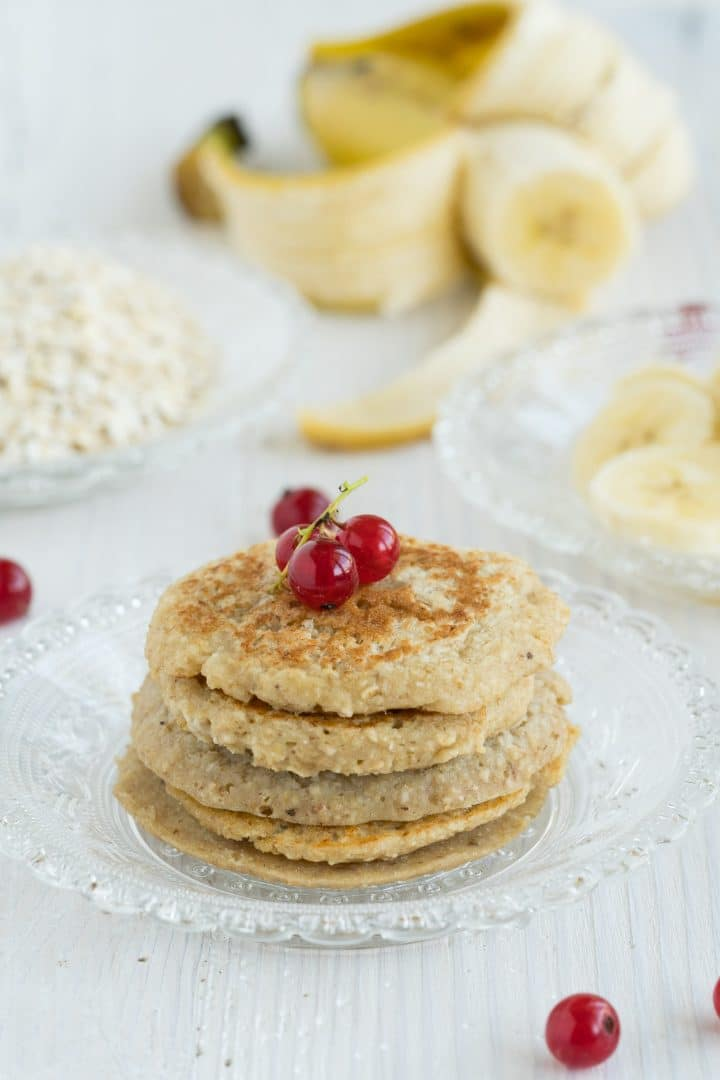 Healthy pancakes with oatmeal and banana