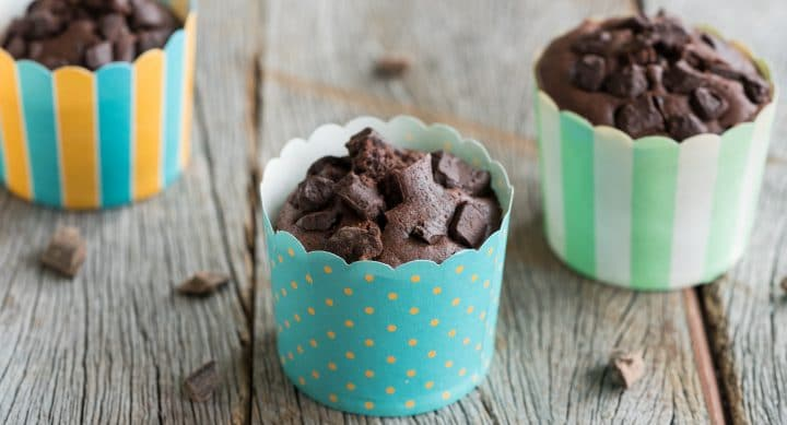 Moist fast chocolate muffins with oil instead of butter