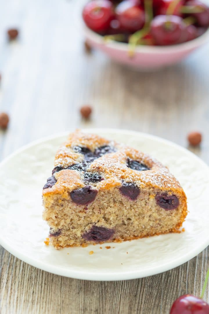 Moist nut cake with cherries