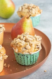 Pear Muffins with Crumbles