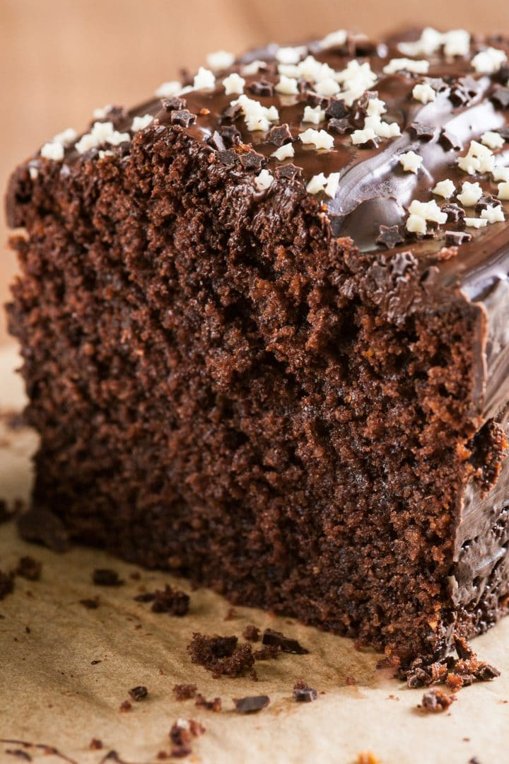 The best chocolate loaf cake with chocolate icing