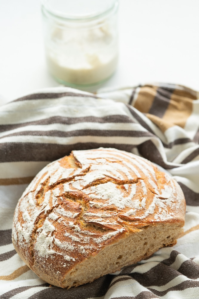 easy wheat bread with sourdough
