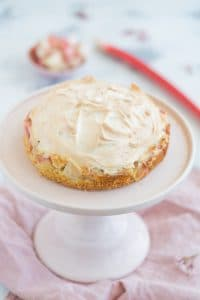 Rhubarb Cake with Meringue Topping