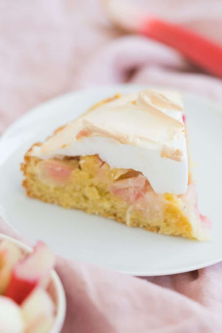 classic german rhubarb cake with meringue and almonds