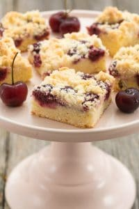 Homemade Cherry Cake with Crumbles