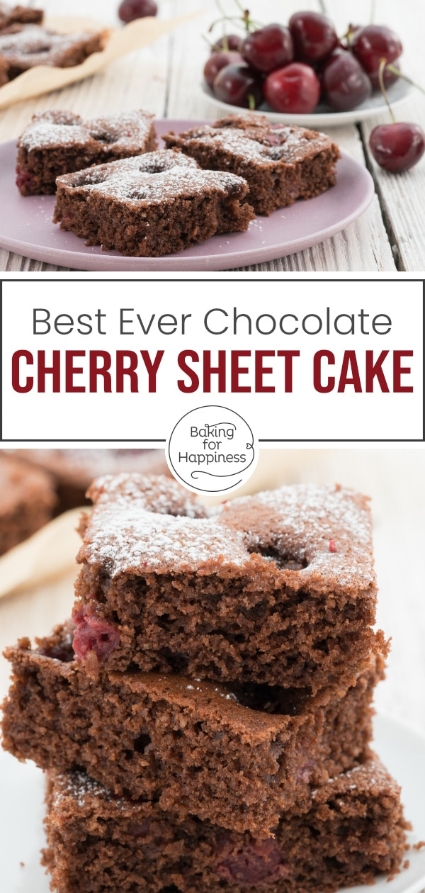 Fancy a moist cake with chocolate and cherries? This chocolate cherry sheet cake is easy and tastes delicious: chocolatey and fruity!