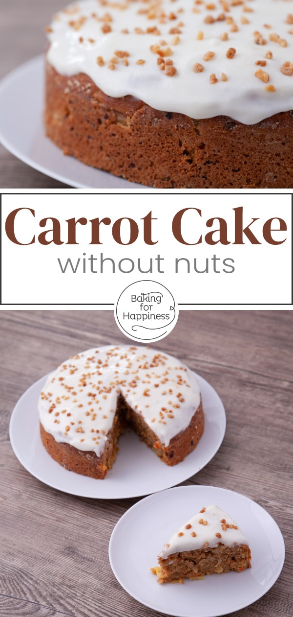 Very moist, low-fat carrot cake without nuts: A healthy carrot cake can be so delicious! This recipe is a great alternative to the classic one.