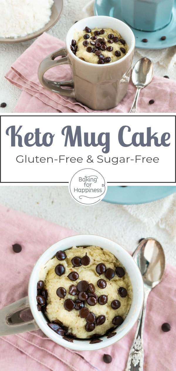 Quick recipe for a delicious low carb keto mug cake with coconut flour and chocolate. The microwave cake is ready in less than 5 minutes!