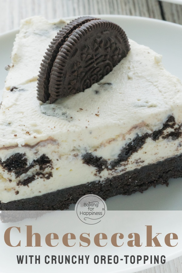 Crunchy biscuit tart, cream cheese and a topping of Oreo pieces. All together in this delicious no-bake oreo cheesecake. Sounds good? It is!