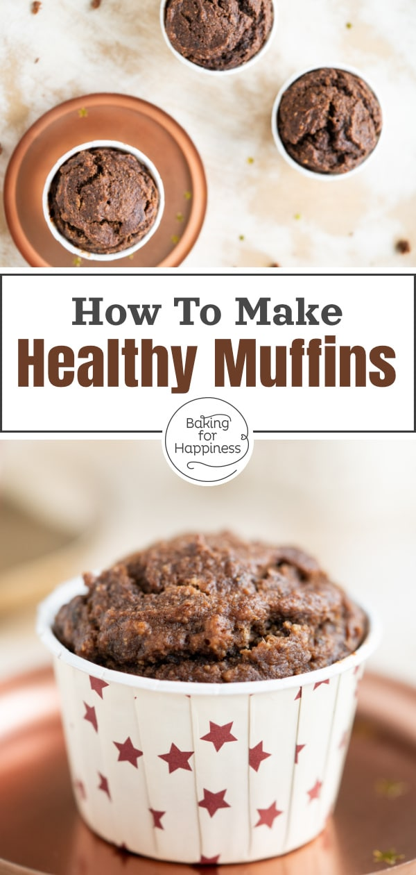 Great healthy chocolate muffins without sugar, butter, milk and white flour. These moist clean eating muffins convince even children!