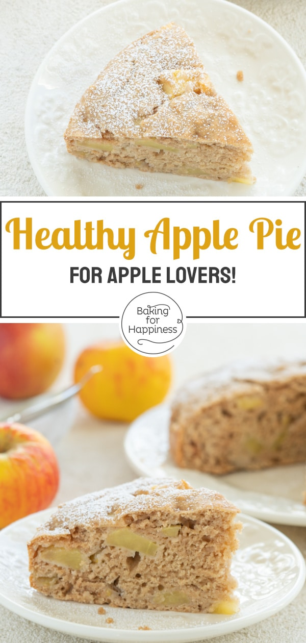 This sugar-free apple pie is a great healthy cake for babies, kids and adults. The cake doesn't require egg, butter, sugar and milk!